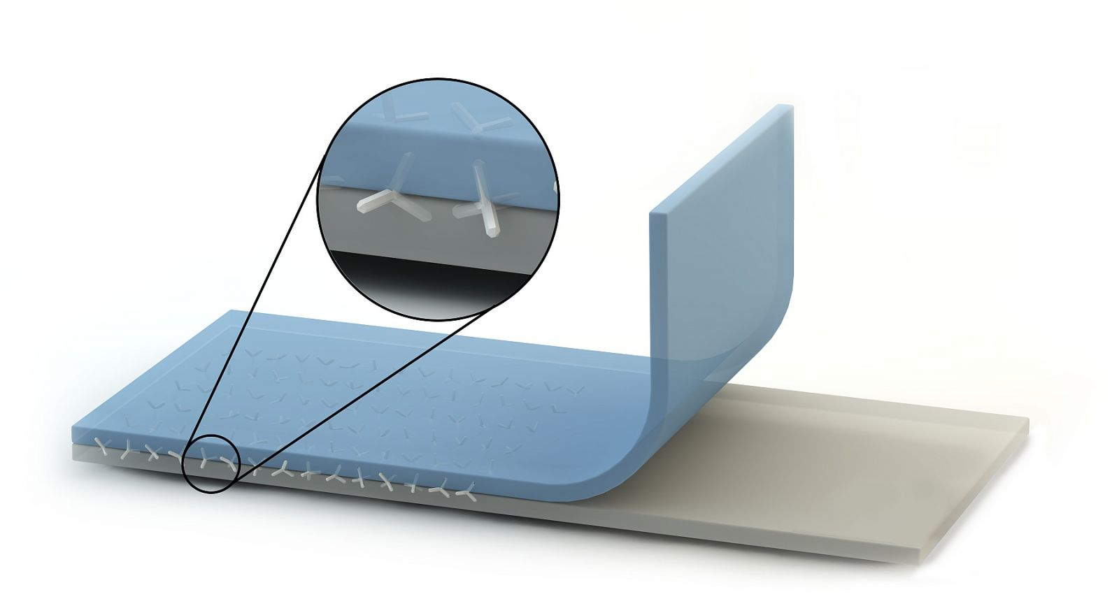 The two polymer layers are stapled from the inside using nano crystals made of zink oxide. Conceptional drawing.